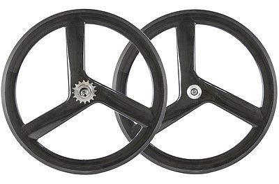 FidgetGear 700C 56 mm 3 Speichen Räder Track Bike Laufradsatz Tri Speiche Felgensatz Festes Getrieberad, Set(Front&Rear)} (Speichen-rad-700c 3)