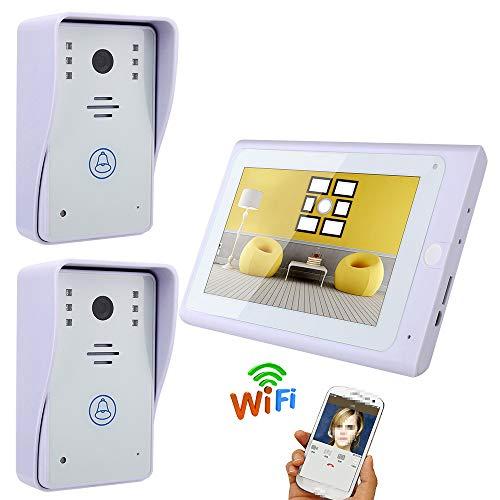 JaidWefj Video Türklingel Intercom System / 7 Zoll HD LCD Monitore + 2 * IR-Cut HD 1000TVL Kamera/Nachtsicht/wasserdicht/Remote APP Überwachung Intercom-außeneinheit