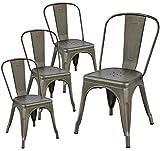 Yaheetech Lot de 4 Chaise de Cuisine Tabouret Salle à Manger Industrielle 45 cm de Hauteur Empilable Metallique avec Dossier Jardin Bistrot Café Salon