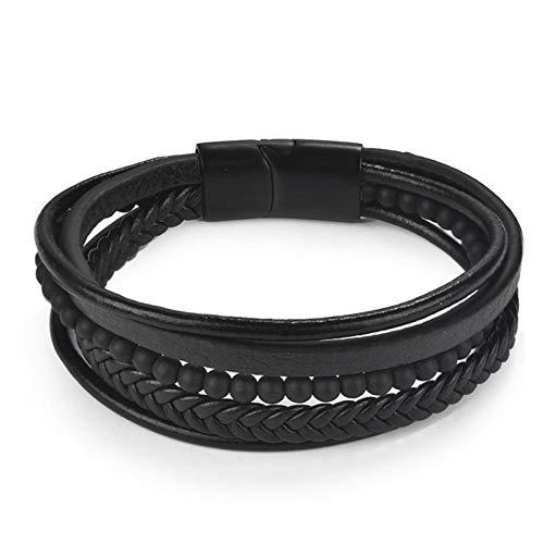 Armband Coole männer mehrschichtigen lederarmband Edelstahl magnetverschluss Armband trendy männlichen schmuck Geschenk ()