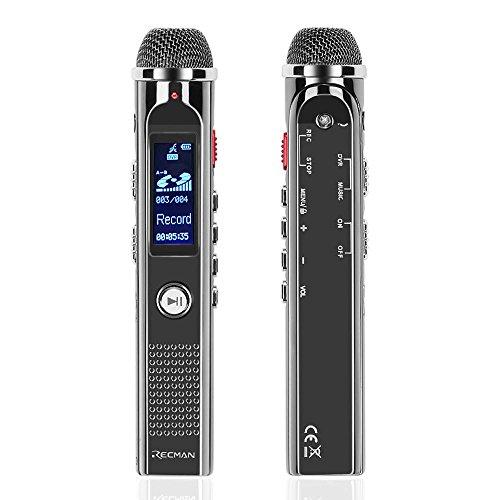 TNP Digital Voice Recorder–Tragbare Audio-Recorder 8GB Diktiergerät MP3-Player wiederaufladbar mit USB-Port, Stimme aktiviert, Noise Reduction Mikrofone für Aufnahme, Vorlesungen, Interview und Meeting Mp3-player Mit Line-in