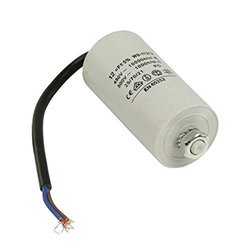 paduTec Kondensator Betriebskondensator Motorkondensator Anlaufkondensator Arbeitskondensator Steckeranschluss mit Kabel 450V + Kabel W9 von 2,0µF bis 50µF wählen Sie die benötigte Größe 12µF -