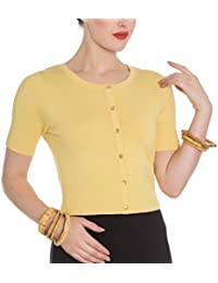 Hell Bunny Ladies 50s Wendi Plain Short Sleeved Cardigan Top Yellow All Sizes