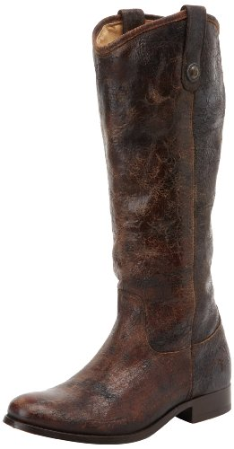 FRYE Women's Melissa Button Boot, Chocolate Glazed Vintage Leather, 6 M US - Button Boot Melissa Frye