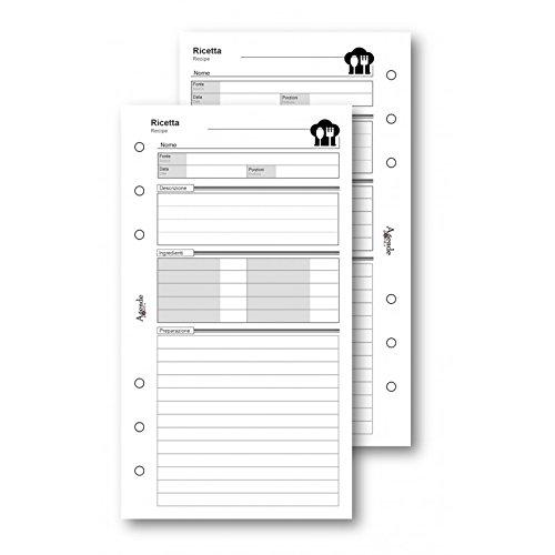 Ricambio fogli ricette da fare 9,5x17 da 50 fogli per agenda organizer