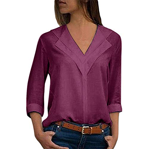 HROIJSL Mode Damenbekleidung Chiffon T-Shirt Einfarbig Bürodame Einfach Rollärmelhemd Oben Langarm Einfarbig Tops mit Turnup-Ärmeln Women Shirt V-Ausschnitt Marine, Blau, Lila, Weiß -