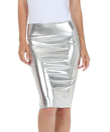 Sakkas 2695 -Frauen-glänzende metallische Flüssigkeit mit hoher Taille Bleistiftrock - Silber - Small (90 Promi Kostüme)