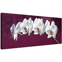 Grande Plum lienzo impresiones de color blanco decorativo de orquídeas–diseño de flores–1116–Wallfillers®