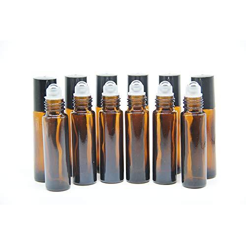 One Trillion Braune Roll On Flasche Leer 10ml, Roll-on Glasflaschen Klein mit Edelstahl-Roller Ball,fürÄtherisches Öl,Aromatherapie-Gemische,Parfüm,Massage - 12Pcs