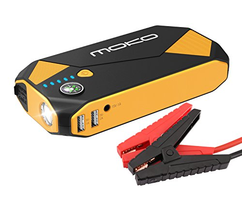 MoKo 500A Peak Car Jump Starter, 13800mAh 12V Auto Emergency Booster (up to 5L Gas and 3.5L Diesel Engine), Portable Power Bank Battery Pack with 2 USB Ports, Compass, LED Flashlight - Black & Yellow (Starter Bolt Jump)