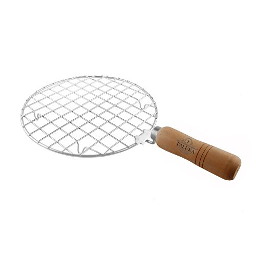 Taluka ( Dia:- 7.6 Inches ) Stainless Steel Made Round Papad Jali Papad Maker Roti Roaster Papad Roaster Wooden Handle Best Quality  available at amazon for Rs.300