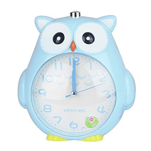 Samtlan Reloj despertador infantil en forma de búho con alarma Snooze y luz de pilas, Azul