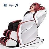 DZWJ Silla de Masaje eléctrica Inteligente, sillas de Masaje de Aire de Cuerpo Completo Altavoz Bluetooth con Estiramiento Golpeteo Calentador Masajeadores de Espalda y pies
