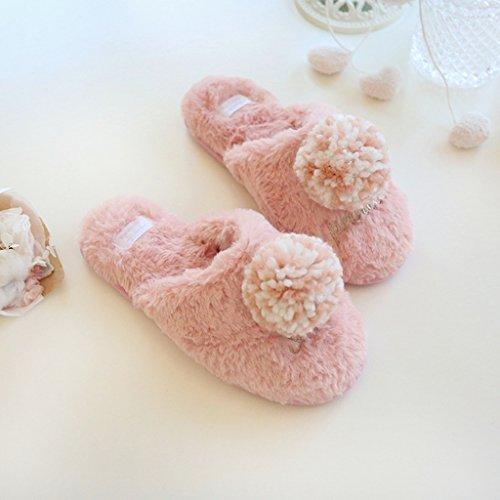 Fortuning's JDS Le donne delle signore delle ragazze Accogliente Velluto Casa calzature comode pantofole con fiocchetto palla Filato Rosa