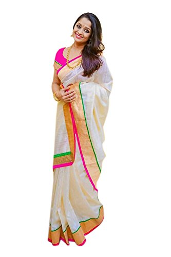 Pramukh Suppliers Women's Chanderi Cotton Saree With Blouse Piece (Zari Pink Saree_Off...
