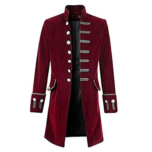 Mittelalterliche Kostüm Billig - Anywow Herren Steampunk viktorianischen Mantel mittelalterlichen Jacke Viking Renaissance formalen Frack Gothic Tuxedo Stehkragen Mantel Halloween Kostüm