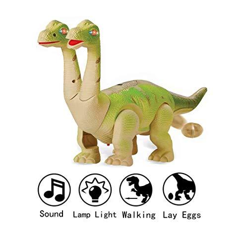 Yeelan Walking Dinosaurier Eier Legen Electric Walk Dino Rohes Ei Spielzeug mit LED-Licht und Sound für Schulkinder Kinder Kind Kleinkind (zweiköpfiger Brachiosaurus, zufällige Farbe, Super groß)