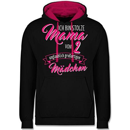 Die Stolze Mama Womens Pink T-shirt (Shirtracer Muttertag - Ich Bin stolze Mama von 2 unglaublich großartigen Mädchen - L - Schwarz/Fuchsia - JH003 - Kontrast Hoodie)