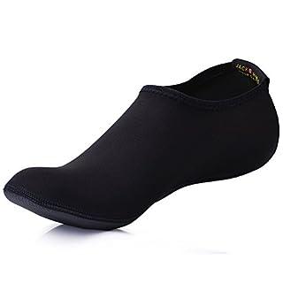 JACKSHIBO Erwachsene Barfuß Schuhe Weich Wassersport Schuhe Damen Schwimmschuhe Surfschuhe Badeschuhe,Black,Erwachsene 3XL