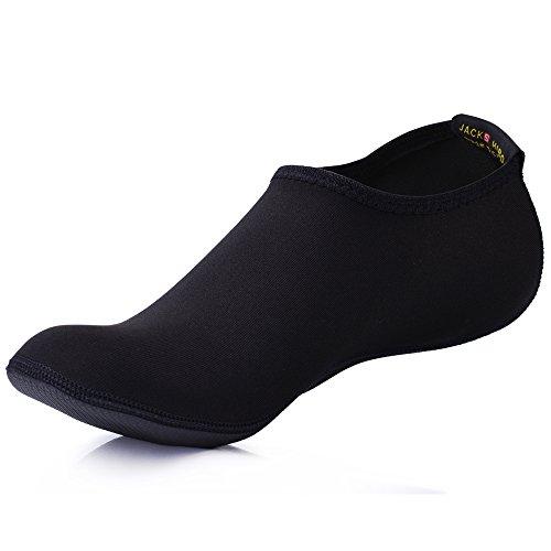 JACKSHIBO Herren Damen Barfuß Wasser Schuhe Unisex Aqua Shoes für Strand Schwimmen Surf Yoga Jungen Mädchen,Schwarz,Erwachsene 3XL (Barfuß-schuhe)