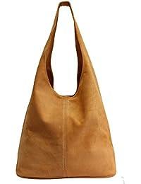 8fff892febbc4 AMBRA Moda Damen Ledertasche Shopper Wildleder Handtasche Schultertasche  Beuteltasche WL818