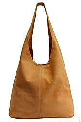 Damen Ledertasche Shopper Wildleder Handtasche Schultertasche Beuteltasche WL818 (Orange)