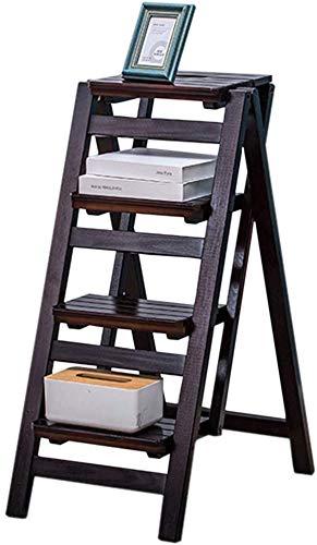 ATR Tritthocker Treppenstuhl Sitzmöbel Leiter aus Kiefernholz Kletterhocker mit doppeltem Verwendungszweck 4-stufiger Leiterstuhl Tragbares Multifunktions-Blumenregal Schuhbank Aufbewahrungsrega