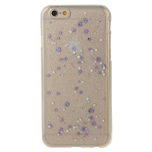 Wkae Case Cover Transparente Stern Pailletten-Blitz-Puder-Serie TPU Schutzhülle für das iPhone 6 Plus &6S plus ( Color : Red ) Purple