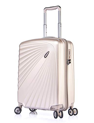 Verage Kinetic Leichter Hartschalen-Koffer mit 4 Doppel-Rollen und TSA, Handgepäck ABS/PC Trolley (S-55cm-52 Liter, Metallic Champagner) mit Sicherheits-Reißverschluss