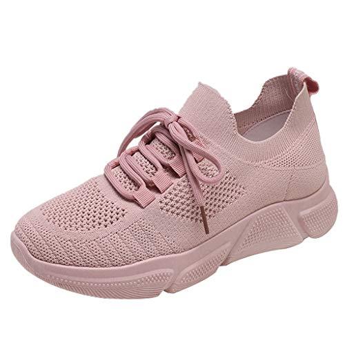 Fenverk Turnschuhe Fitness Trekking Laufschuhe StraßEnlaufschuhe Sportschuhe Air Damen Amen Trainers Running Atmungsaktiv Sneakers(Pink-02,37 EU)