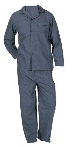 Herren schlicht Baumwoll-Polyester Schlafanzüge Satz Traditionell Klassisch Schnitt Grau Meliert