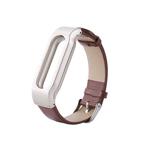 COOSA Xiaomi único y atractivo pulseras cuero reemplazo de la correa con cierres metálicos (café)