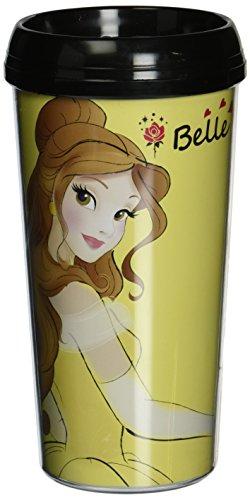 Silver Buffalo DP1587 Disney Belle plastica priva di BPA, tazza da viaggio, 470 ml, colore: giallo