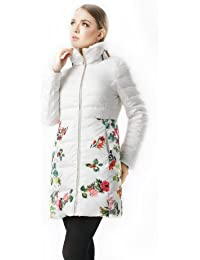 Dayiss® Damen Fashion taillierter Daunenmantel Stehkragen geblümt