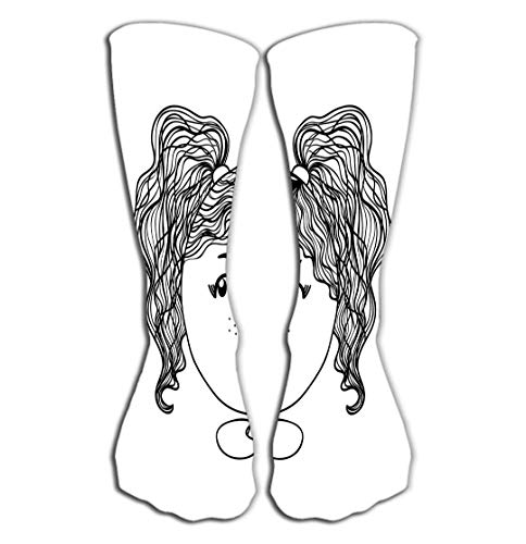 Xunulyn Hohe Socken Outdoor Sports Men Women High Socks Stocking Cute Girl Background Hand Drawn can be use Apparel Kid Textile Card pin Print Design Cartoon c Other Tile Length 19.7