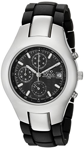 gino franco Men's 983BK Round Stainless Steel Chronograph with Black Ion-Plated Bracelet Watch