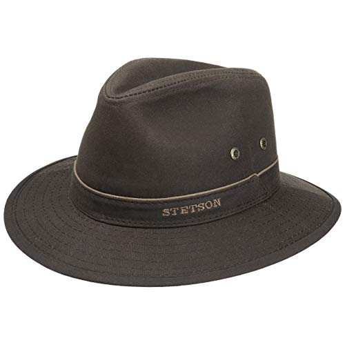 Stetson Stetson Avasun Waxed Cotton Travellerhut Damen/Herren | Stoffhut Outdoorhut Baumwollhut mit Einfass Frühling-Sommer Herbst-Winter | S (54-55 cm) Dunkelbraun