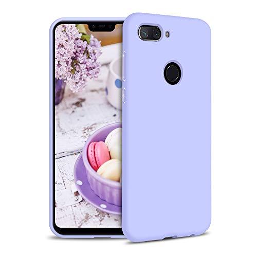 Funda para Xiaomi Mi 8 Lite Carcasa Silicona Xiaomi Mi 8 Lite, Silicona Gel TPU Case Goma Colores del Caramelo Anti-Rasguño Resistente Ultra Suave Protectora Caso - Morado Claro