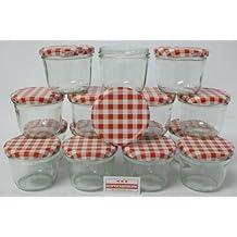 Tarro de cristal para conservas Einweckglas 220 ml a cuadros tapa 15 pcs Set
