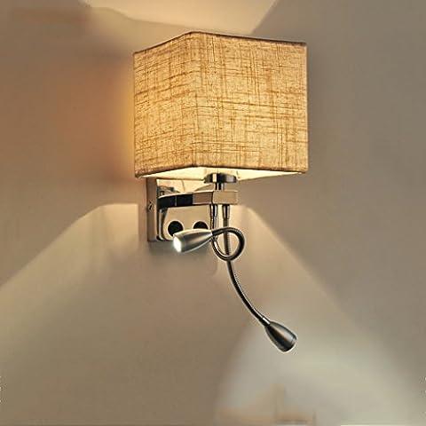 QKR&Lámpara de pared exquisita, Escalera de la pared de la sala dormitorio balcón pasillo de noche de la lámpara LED moderna minimalista creativo lámpara de pared ( Color : Ropa de color , Tamaño : Doble-Cuadrado )