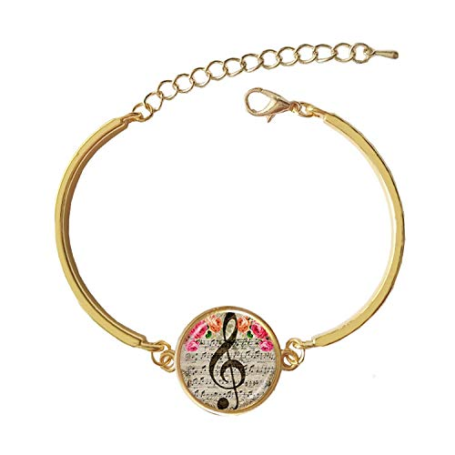 Sunwd Luxury Armband Armkette Freundschaftsarmbänder, Classic Bracelet Music Note Bangle Glass Cabochon Dome Charm for Women and Man Gift Wonderful Gold with Stone Size 18 no Packing -