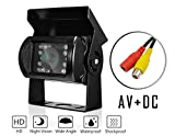 Nachtsicht Rückfahrkamera, DAFROH 120 Sichtwinkel Wasserdicht Universal-Kamera Einparkhilfe HD Farb Rückfahrkamera für Auto Lkw Bus Usw. (Rückfahrkamera Mit AV + DC)