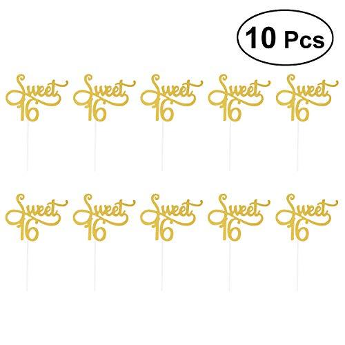 YeahiBaby 100Sweet 16Kuchen Topper Happy 16th Birthday Party Dekorationen Supplies Kinder (Golden) (Party 16th Birthday Supplies)