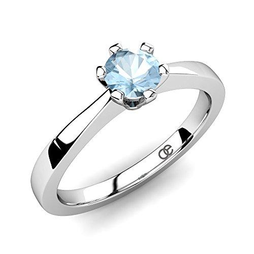 Moncoeur Verlobungsring Eternité Aquamarin + 925 Sterling Silber Verlobungsringe + Silberringe für Damen + echt Silber Edelsteinringe für Damen + Heiratsantrag +...