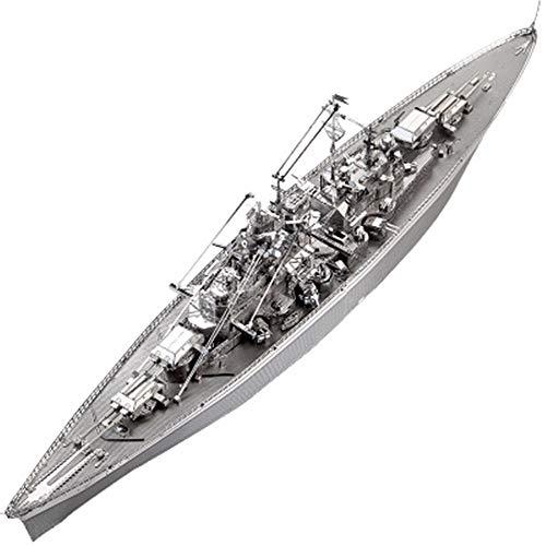 Weltkrieg Bismarck Schlachtschiff montiert Metall Puzzle Spielzeug Modell Kit DIY 3D Laser geschnittene Puzzle Spielzeug Silber + Werkzeug B Einheitsgröße
