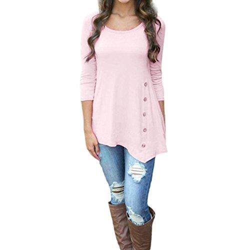 ♪ZEZKT♪Damen Mädchen Hemd Lose Blusen Buttons Shirt Tunika Tops Crew Neck Slim Festliche Elegante Schöne Schicke Rüschenbluse Edle Oversize Tailliert Schicke (L, Rosa) (Rosa Gestreifte Halfter)