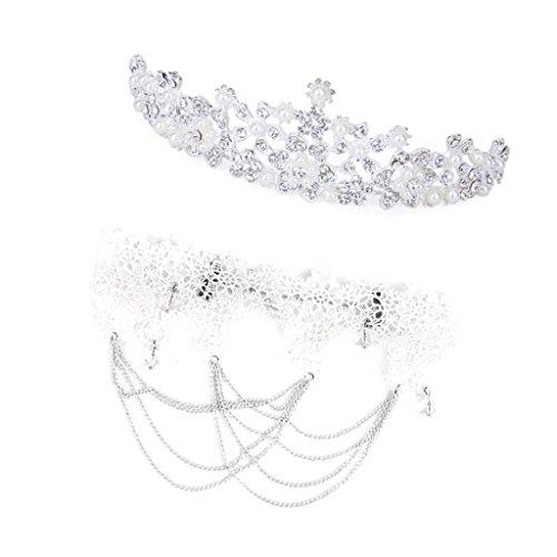 Collar De Encaje G¨®tico De Boda Nupcial De Perlas De Cristal Flor Del Rhinestone Corona Lolita