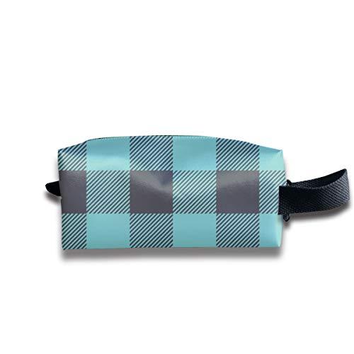 1 Teal + Smokey Grey Buffalo Plaid - Buffalo Check_16028 Tragbare Reise-Make-up-Kosmetiktaschen Organizer Multifunktionskoffer Taschen für Unisex Teal Buffalo