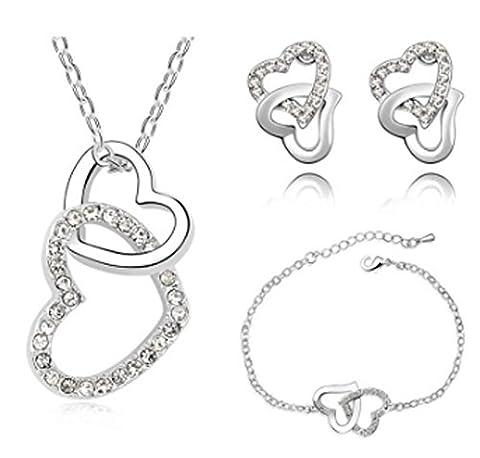SaySure - Rhinestones Heart pendant necklace bracelet earrings