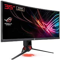 """ASUS ROG XG35VQ - Moniteur gaming eSport 35"""" UWQHD - Dalle VA incurvée 1800R - 21:9 - 100Hz - 1ms - 3440 x 1440 - 300cd/m² - DP, 2x HDMI et 2x USB3.0 - AMD FreeSync - AuraSync - Garantie 3 ans"""